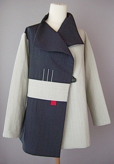 Draped collar jacket white sashiko