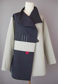 Draped collar jacket white sashiko