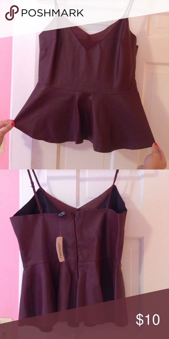 Burgundy faux leather peplum top Forever 21 faux leather peplum top. never worn, still has tags! Forever 21 Tops Tank Tops