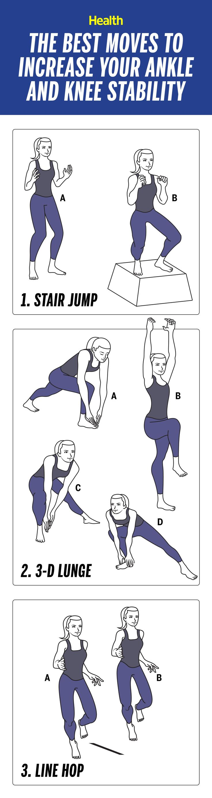 The best exercises to prevent knee and ankle injuries. These moves will increase your ankle and knee stability and make you more agile for your next off-road run.   Health.com