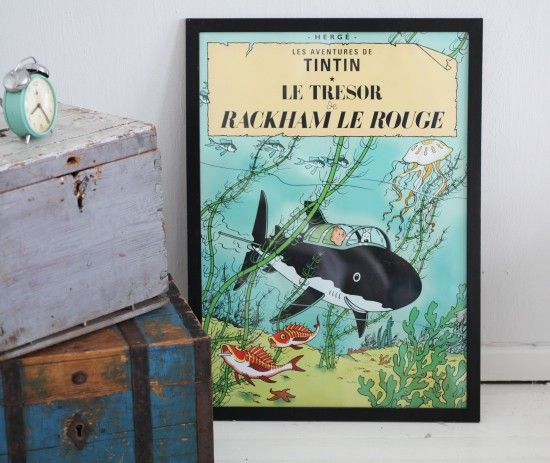 Tintin posters next to a treasure chest. Perfect. Definitely ordering some of these.