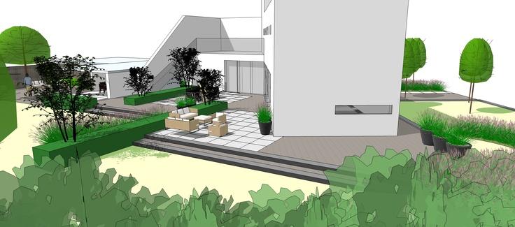 Perspectief exclusieve moderne tuin