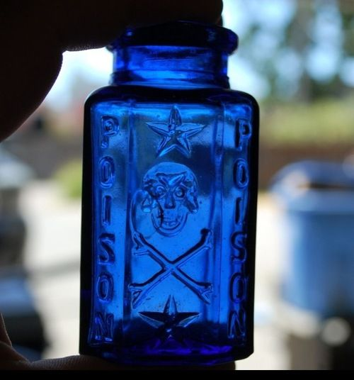 Looking at the cobalt blue poison bottle ... did you know that all bottles were made cobalt blue that held poisons ? So people were warned. Today, anytime you see one in an antique shop, you will know it once held poison of some sort.