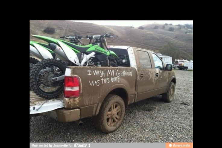muddy truck and a kawasakis!