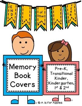Here's a FREE set of memory book covers! The covers are in black and white so you can print on colored paper or have the students color it! Cover pages also include the grade level, space for the child's name, and the current school year.Grades included: Pre-K, Kindergarten, 1st, 2ndCheck out another End of the Year FREEBIE here!!
