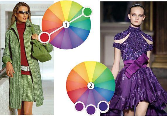 (1) Парное сочетание дополнительных цветов: цвета находятся друг напротив друга. В ярком выражении – это драматичная и выразительная пара, если убавить контраста (как мы уже делали выше), то сочетание будет мягче. (2) Сочетание по подобию. Комбинация из родственных оттенков углубляет цвета: глаза достраивает промежуточные тона за cчет чего получается эффект игры цвета-тени.
