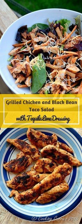 Jazz up your summer time grilling with this Grilled Chicken and Black Bean Taco Salad with Tequila Lime Dressing. This recipe is perfect for any leftover grilled chicken too! http://www.cookingcurries.com
