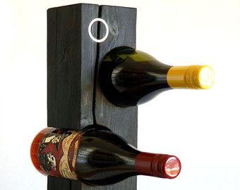 """Cedro carbonizado estante del vino, Metal embutido """"Ring"""", hecho por encargo, de pié, prohibición japonesa de Shou Sugi, cedro blanco norteño de Vermont nativo"""