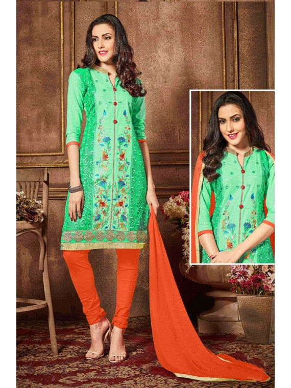Lively Parro Green and Orange Salwar Suit