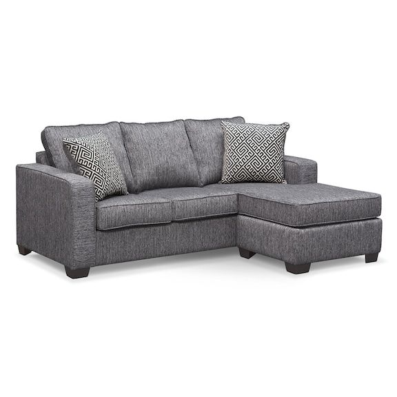 Sterling Innerspring Sleeper Sofa With Chaise Charcoal Value City Furniture And Mattresses Chaise Lounge Sofa Sectional Sofa With Chaise Sleeper Sofa