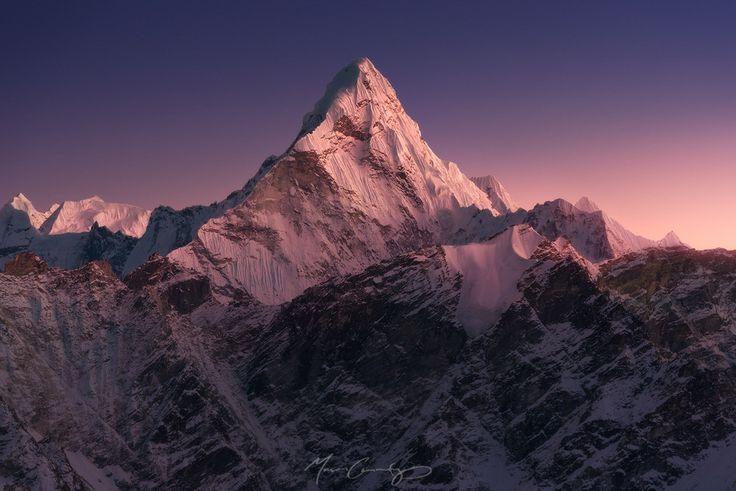 Ama Dablam, (6,856 m), as seen from Kala Patthar (5,643 m). by Mason Cummings