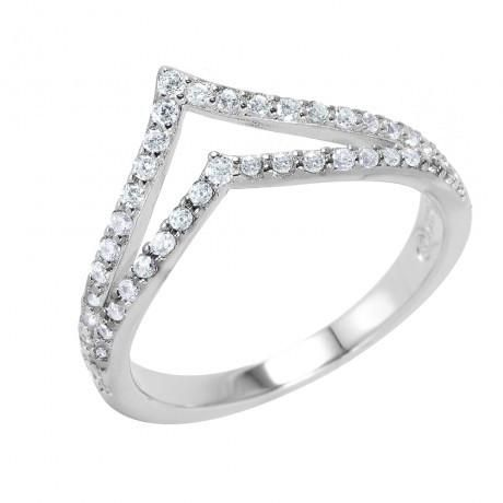 Metal: .925 Sterling Silver Finish: Rhodium Plated Stones: Ring Measurement: