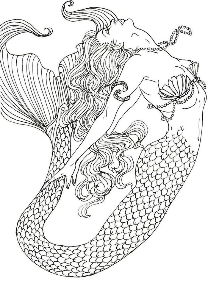 mermaid coloring pages anime. Mermaids are aquatic ...