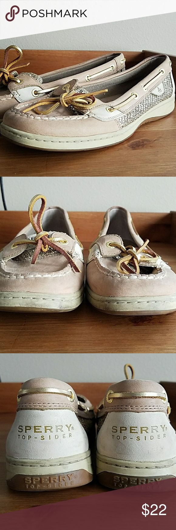 Gilded Sperry Top-Siders Used Sperry top-sider boat shoes in linen and gold, size 8 1/2. Price reflects condition... they're definitely used but could probably be cleaned up. Sperry Shoes Sneakers