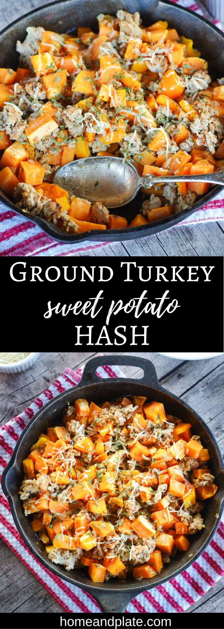 Ground Turkey Sweet Potato Hash   From skillet to plate in 30 minutes, this easy ground turkey and sweet potato hash is the ideal dish for a weeknight dinner or a weekend breakfast.   www.homeandplate.com   #holiday #leftovers #skilletmeal