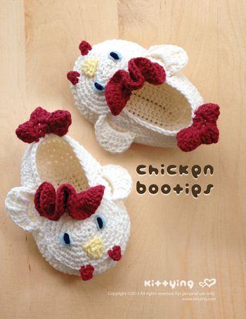 Pollo Scarpette da neonato Crochet simbolo motivo di Kittying su DaWanda.com