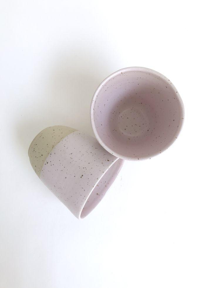 Pastel pink cups by Spiek ceramiczny