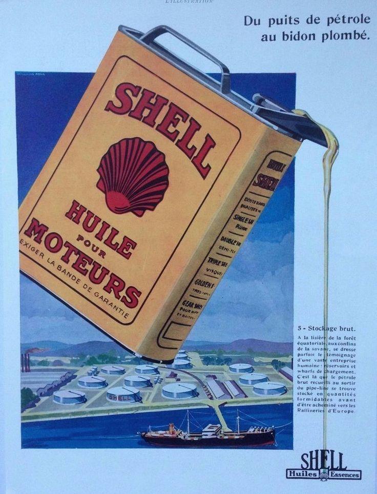 SHELL MOTOR OIL AD RETRO COLOUR LOGO TIN ART 1930s original vintage advertising
