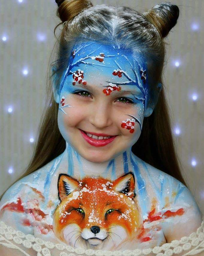 """Catching snowflakes"" - the second piece in my winter artwork collection. #facepainting #christmasfacepaint #christmasfacepainting #winterstyle #wintermakeup #makeupforkids #bodypaint #bodyart #christmasart #faceart #facepaint #learnfacebodyart #olgamurasev #аквагрим #ольгамурашева"