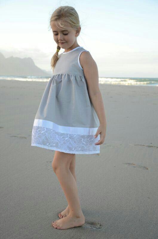 Cotton girl's dress with lace trim by www.kiddynook.com