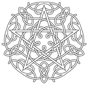 Earth, air, fire, water, and spirit are represented in this light-stitching knotwork pentacle design. Downloads as a PDF. Use pattern transfer paper to trace design for hand-stitching.