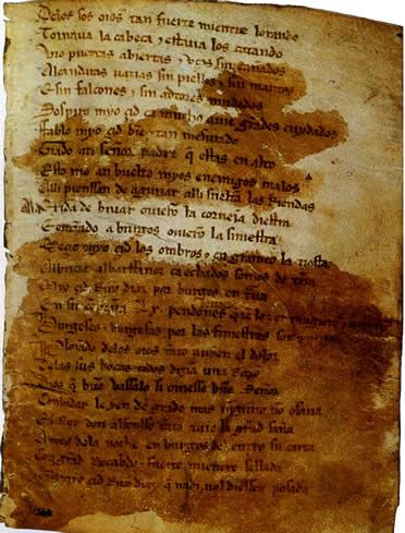 En la imagen aparece el Cantar de Mio Cid escrito en latín y en la web podéis apreciar otras cantigas y también se explica la literatura en la edad media