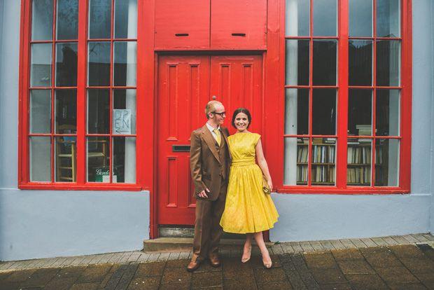 short yellow wedding dress - Read more on One Fab Day: http://onefabday.com/paula-gillespie-ryan-catherine/