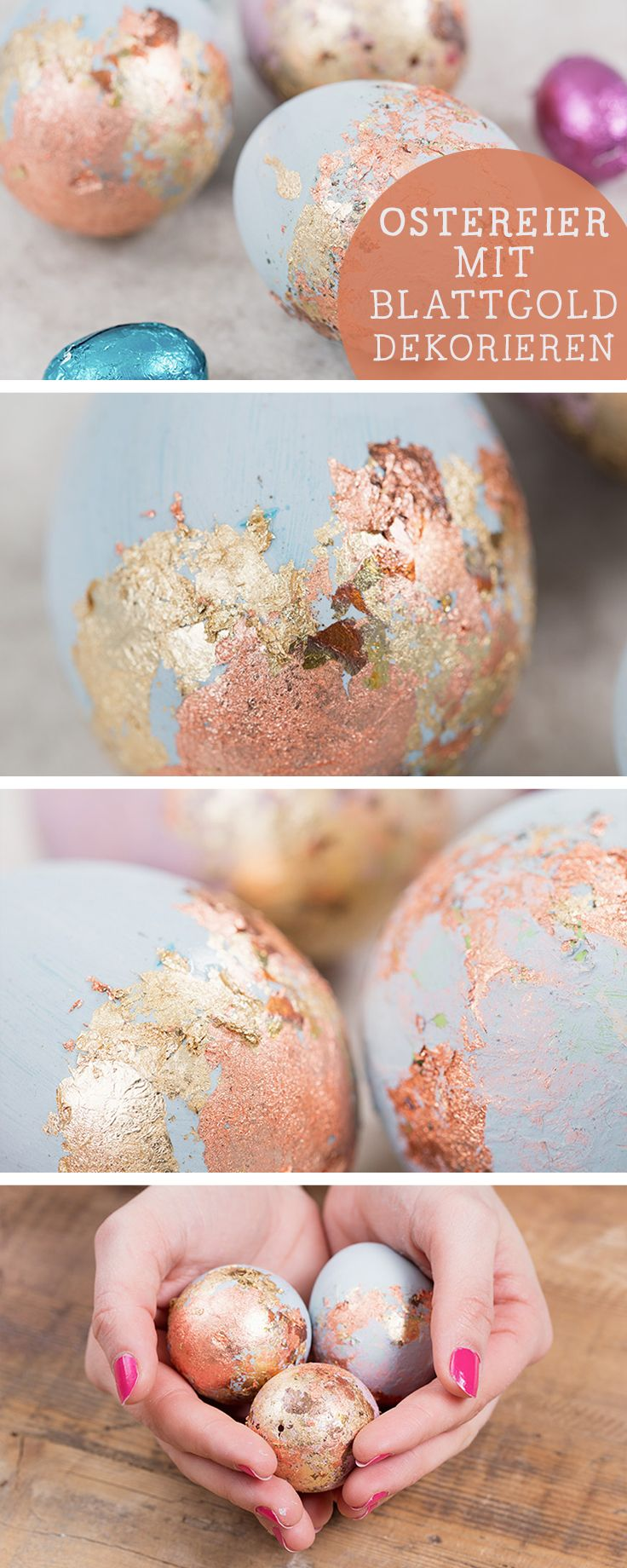 DIY-Anleitung: Ostereier mit Blattgold verzieren, luxuriöse edle Osterdeko / fancy easter decoration: use gold foil to decorate easter eggs via DaWanda.com