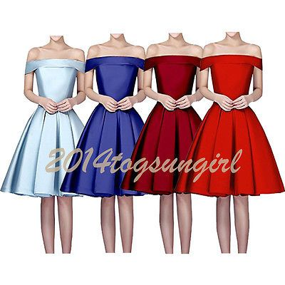Plus Size 2-26W Short Satin Bridesmaid Gown Party Cocktail Evening Prom Dresses