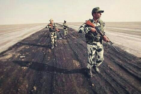 "BSF soldiers patrolling the ""Great Rann of kutch"""