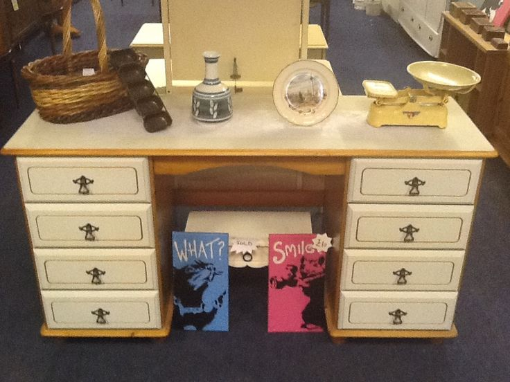 Solid hand painted bedroom dresser with detachable mirror.