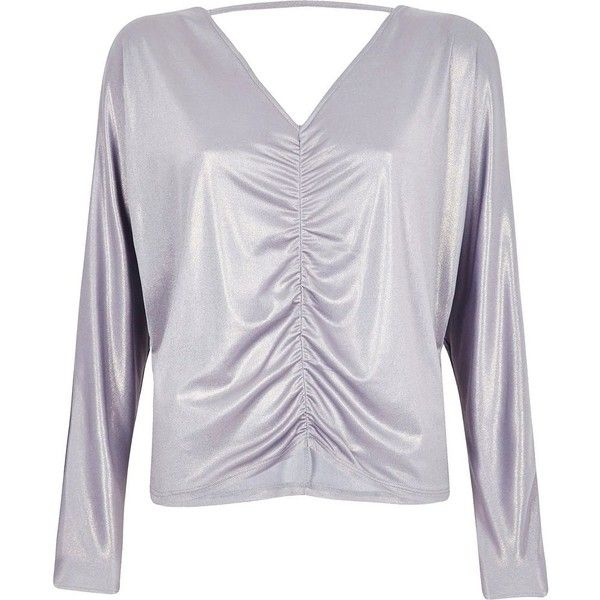 River Island Purple metallic ruched batwing top ($52) ❤ liked on Polyvore featuring tops, blouses, purple, women, metallic blouse, cut-out shoulder tops, batwing sleeve blouse, metallic top and open shoulder tops