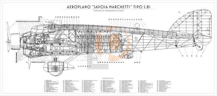 Aeroplano S.I.A.I. Marchetti S.81-Cod. S81-126x56 FIANCO