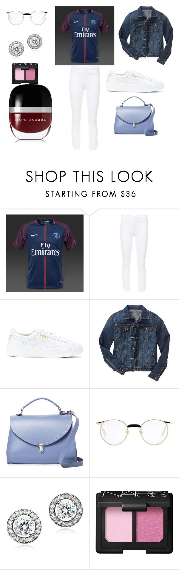 """Sans titre #9741"" by merveille67120 ❤ liked on Polyvore featuring NIKE, Frame, Puma, Gap, The Cambridge Satchel Company, Gucci, Crislu, NARS Cosmetics and Marc Jacobs"
