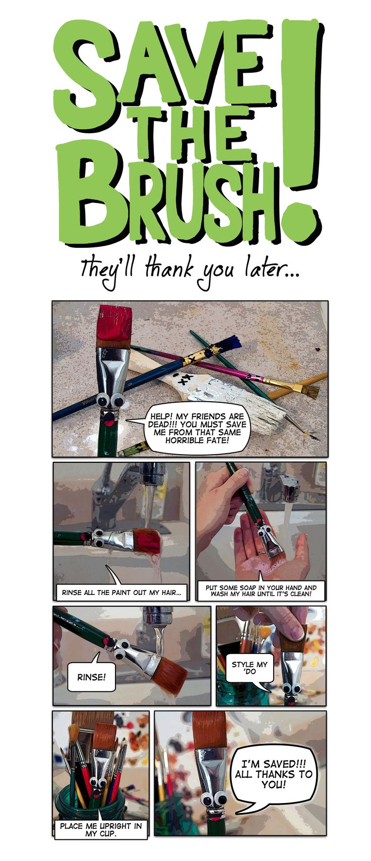 Poster I made to hang above sinks to address my biggest pet peeve - dirty brushes!