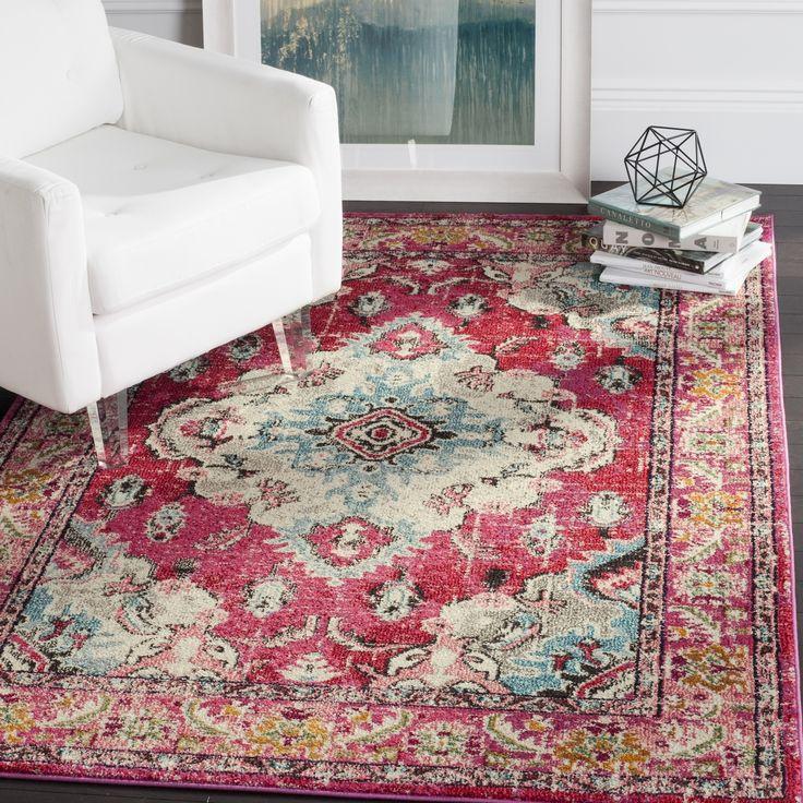 safavieh monaco vintage bohemian pink multi rug 6u0027 7 square size 7u0027 geometric - Colorful Area Rugs