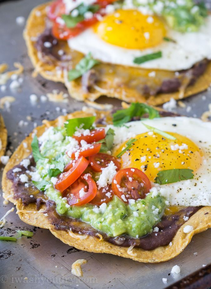 Huevos Rancheros Breakfast Tostadas with Avocado Salsa Verde - I Wash... You Dry