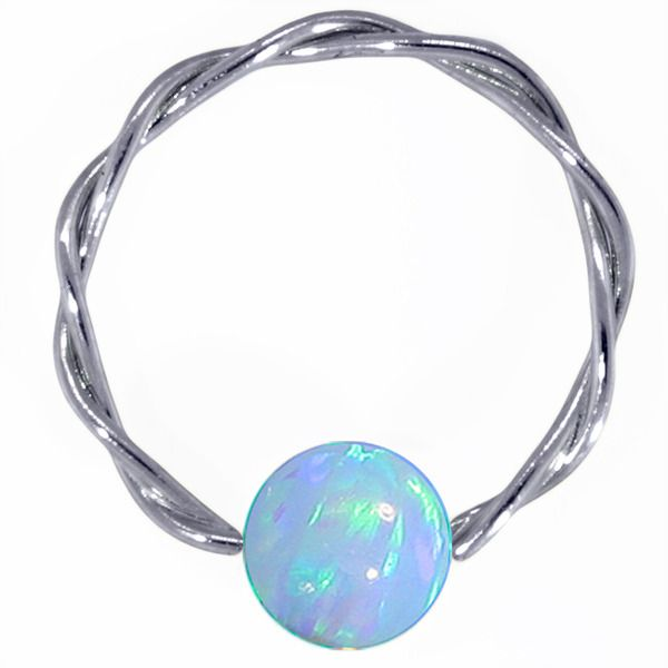 Light Blue Opal - Solid 14K White Gold Twisted Captives in 14G - 20G at FreshTrends.com