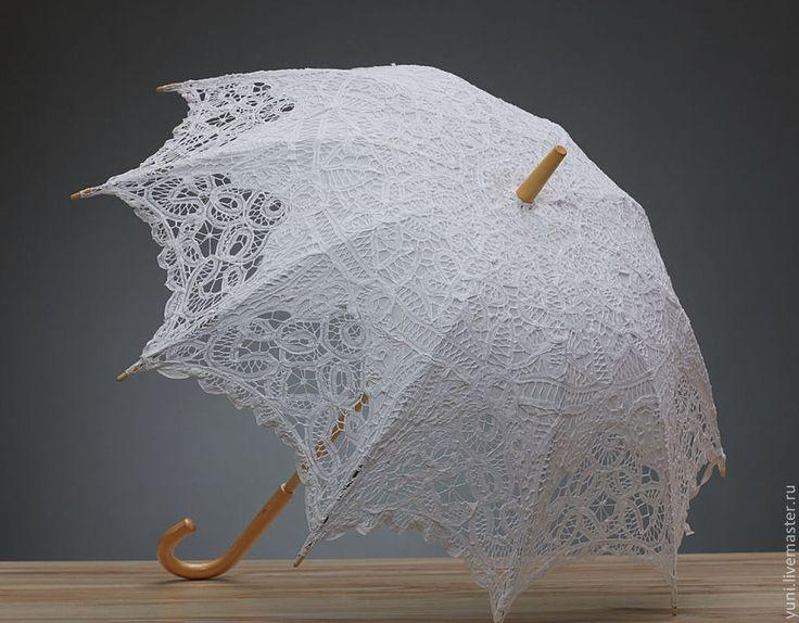 Кружевной свадебный зонт - Винтаж - белый, зонт, зонтик, зонтики, кружево, кружевной зонт / Bridal lace parasol