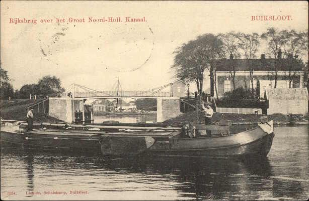 Beeldbank Prentbriefkaarten - Rijksbrug over het groot N.H.Kanaal, Buiksloot 1907