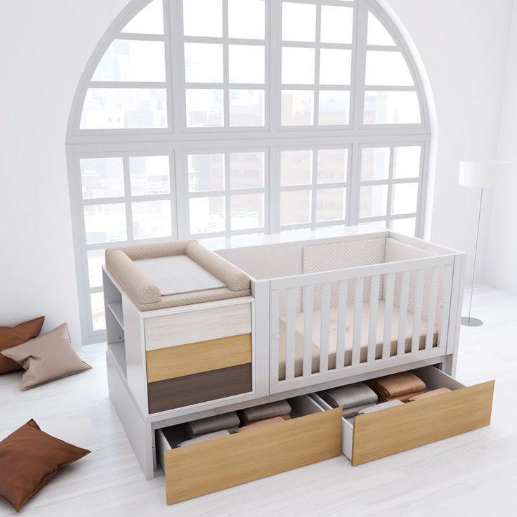 Cunas convertibles modernas y de diseño para bebés. Con cajones inferiores para disponer de un espacio extra para guardar cositas. Convertible en habitación #infantil completa. http://www.alondra.es/cunas-convertibles/art-de-diseno-original-K438CR-3360
