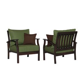 allen   roth�Set of 2 Eastfield Cast Aluminum Patio Chairs with Solid Green Cushion