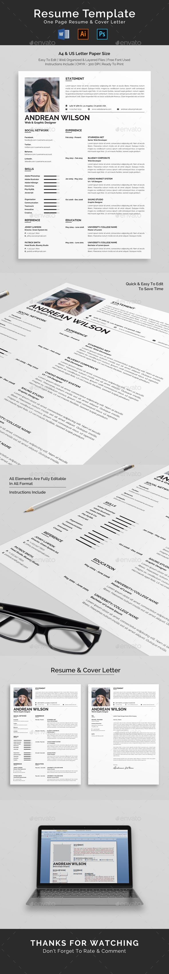 Resume #female #ms word  • Download here → https://graphicriver.net/item/resume/21432573?ref=pxcr