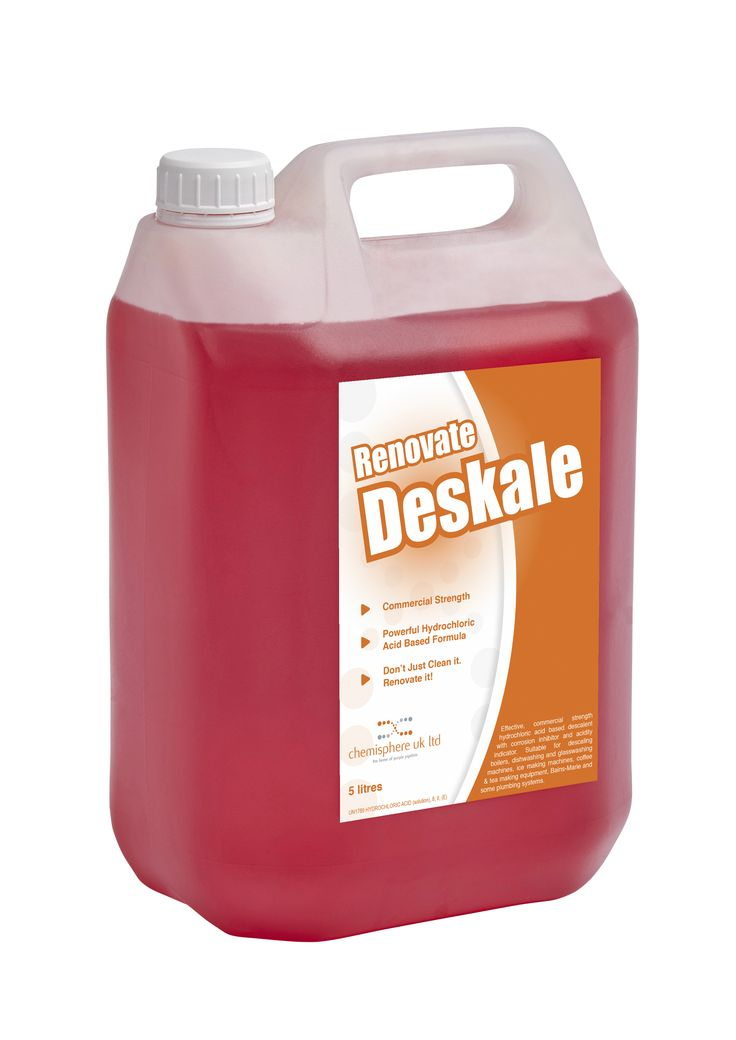 Renovate descale is an effective, commercial strength hydrochloric acid based descalent with corrosion inhibitor and acidity indicator. Suitable for descaling boilers, dish washing and glass washing machines, ice making machines, coffe and tea making equipment, Bains Marie and some plumbing equiptment.