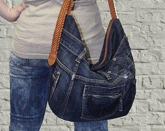 Denim handbag tote bag recycled distressed grunge rock by BukiBuki