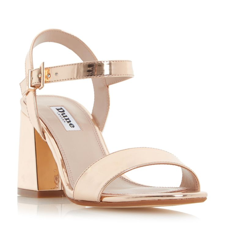 DUNE LADIES MYLO - Two Part Flared Block Heel Sandal - rose gold | Dune Shoes Online