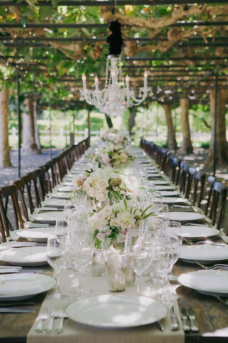 #vineyard, #tablescapes  Photography: Yvonne Wong Photography - yvonne-wong.com  Read More: http://www.stylemepretty.com/2014/07/14/romantic-garden-wedding-under-a-sea-of-chandeliers/