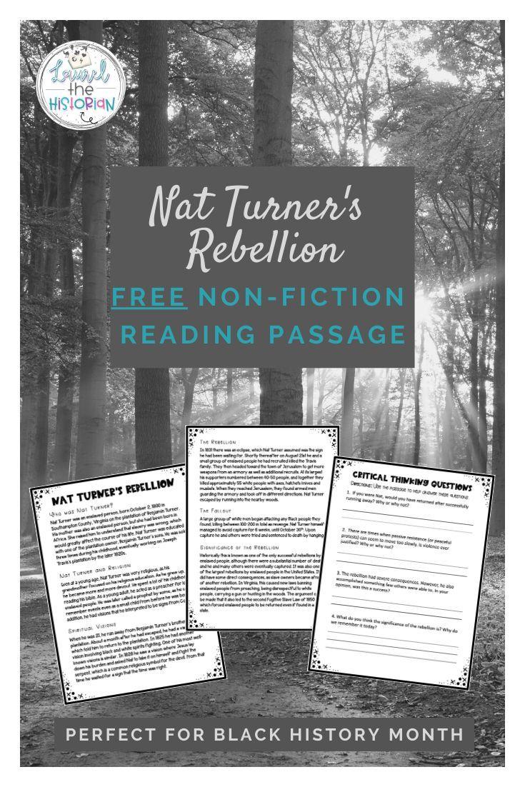 Non Fiction Reading Passage Nat Turner S Rebellion Editable Fiction Reading Passages Reading Passages Critical Thinking Skills Reading like historian declaration of