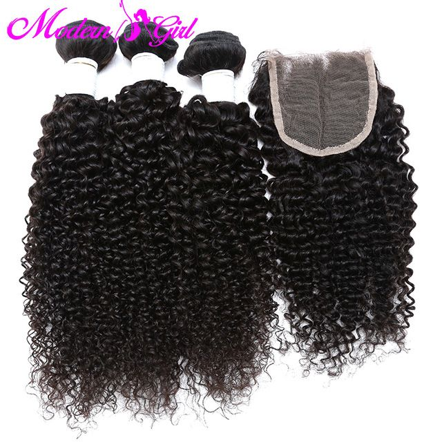 Brazilian curly virgin hair with closure 3 pcs Brazilian kinky curly hair with closure 7a curly weave human hair with closure