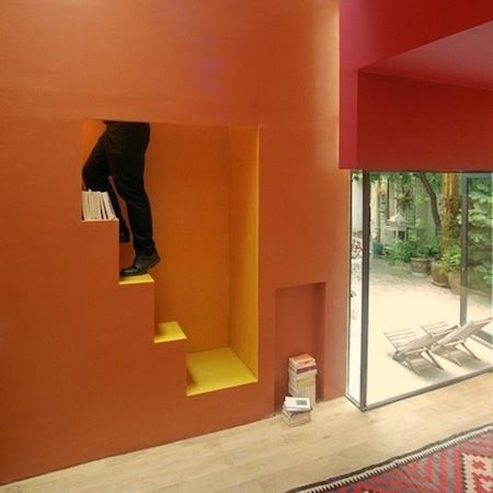 Small 376 sq ft studio house outside of Paris...very creative.